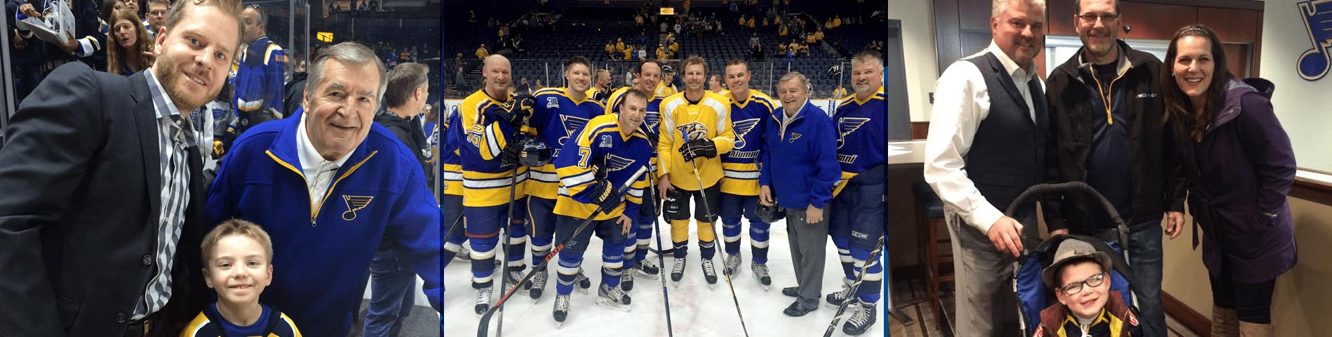 collage of three different St. Louis Blues Alumni appearances
